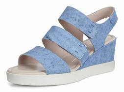 $160 Ecco Shape Wedge Plateau Platform Sandals Indigo Leathe