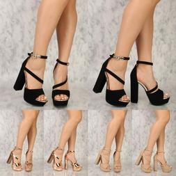 3 Color Ankle Strap Open Toe High Chunky Heels Platform Pump