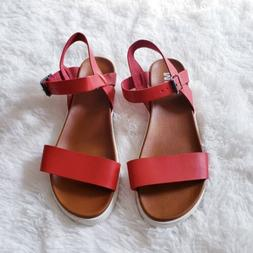 MIA Abby Red Platform Sandals Women's Size 9 1/2 Brand New
