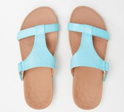 Vionic Adjustable Embossed Platform Slide Sandals Ellie Blue