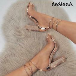 Aneikeh Women High Heels Sandals Square Crystal Heeled Platf