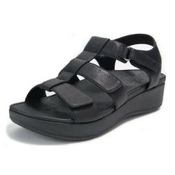 Vionic Back-Strap Platform Wedge Sandals Black Patent