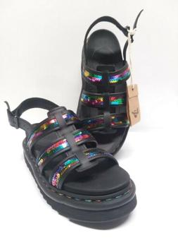 Dr Martens Rainbow Yelena Sequin Leather Casual Platform Wom