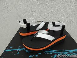 TEVA FLATFORM WHITE/ ORANGE 2' PLATFORM SANDALS, WOMEN US 9/