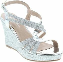 Forever Happy-09 Women's Glitter Strappy Wrapped Wedge Heel
