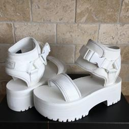 TEVA INDIO JEWELL WHITE ANKLE WRAP PLATFORM BUCKLE SANDALS S