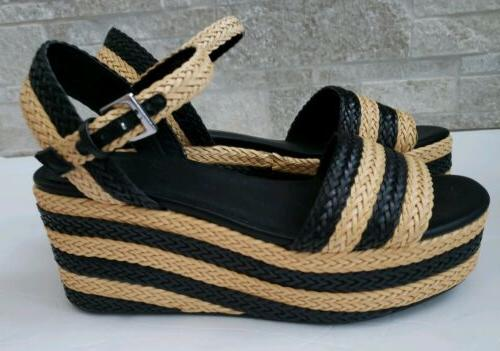 basketweave platform wedge black nude sandal sz
