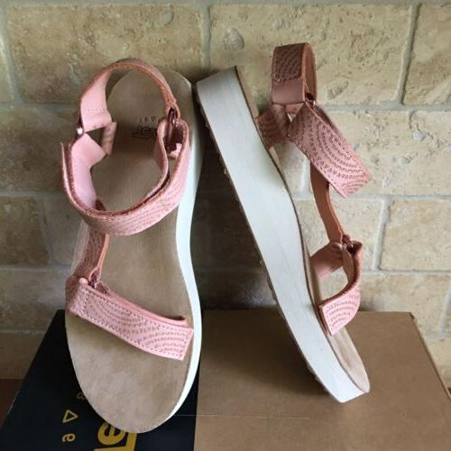 TEVA GEOMETRIC LEATHER TROPICAL PEACH SANDALS SIZE WOMENS