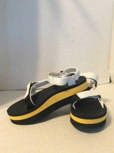white yellow platform womens sandals size 7