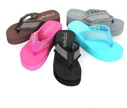 NEW Women's Fashion Beach Wedge Platform Thong Flip Flops Sl