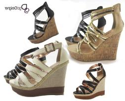 NEW Womens Fashion Dress Shoes Strappy Platforms Wedges Sand