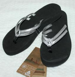 REEF Platform Cushion Flip Flop SANDAL Silver Black Sz 6 NEW