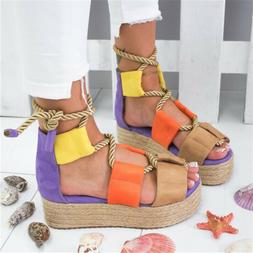 Platform Sandals For Women Rope Lace Thick Heel Sandal Open