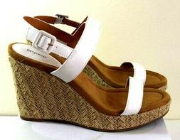 Style & Co Wedge Womens Sandals size 10 White Platform Leath