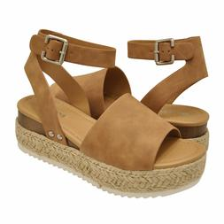 Summer Clearance !!! Soda TOPIC-S Ankle Strap Platform Wedge