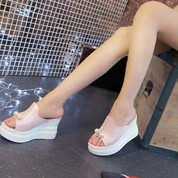 US Women High Open Toe Slippers Wedge Platform Sandals Casua