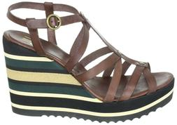 Billi Bi Copenhagen Wedge Platform Sandals Leather Cognac 15