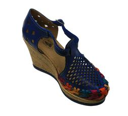 Women Genuine Leather Espadrille Wedges Mexican Blue Color S
