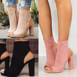 Womens Ladies Platform High Block Heel Sandals Open Toe Ankl