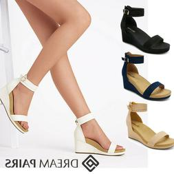 DREAM PAIRS Women's Platform Sandals Ankle Strap Back Zipper