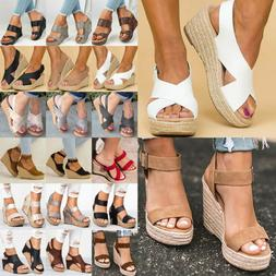 Women's Sandals Platform Wedge High Heels Ladies Open Toe Es