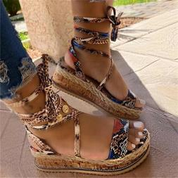 Women's Snake Print Lace Up Platform Wedge shoes