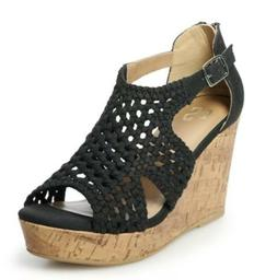 Women's Webbed Platform Wedge Sandals NWT