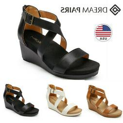 DREAM PAIRS Women's Wedge Sandals Open Toe Ankle Strap Back