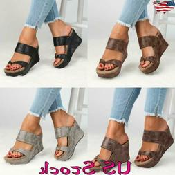 Women Summer Platform Wedge High Heel Shoes Fashion Slingbac