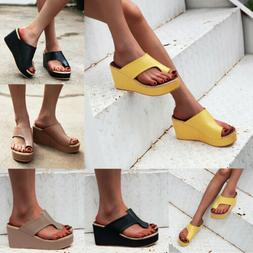 Women Summer Sandals Platforms Slip On Flat Espadrille Open
