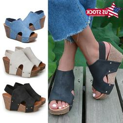 Women Wedge Heels Platform Sandals Ladies Summer Ankle Strap