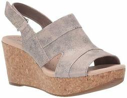 Clarks Womens Annadel Ivory Open Toe Casual Platform, Pewter