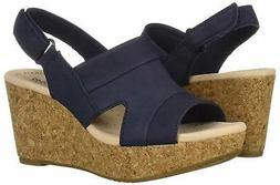 Clarks Womens Annadel Ivory Open Toe Casual Platform, Navy N