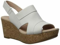 Clarks Womens Annadel Ivory Open Toe Casual Platform, White