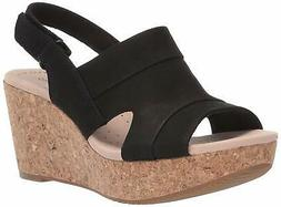 Clarks Womens Annadel Ivory Open Toe Casual Platform, Black