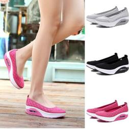 Womens Walking Toning Shoes Platform Wedge Fitness Sneakers