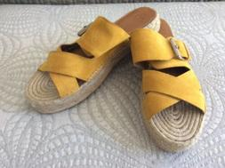 Marc Fisher Yellow Suede Espadrille Platform Sandal, New wit